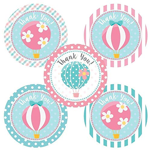 Hot Air Balloon Thank You Sticker Labels - Birthday Baby Shower Party Favor Stickers - Set of 30