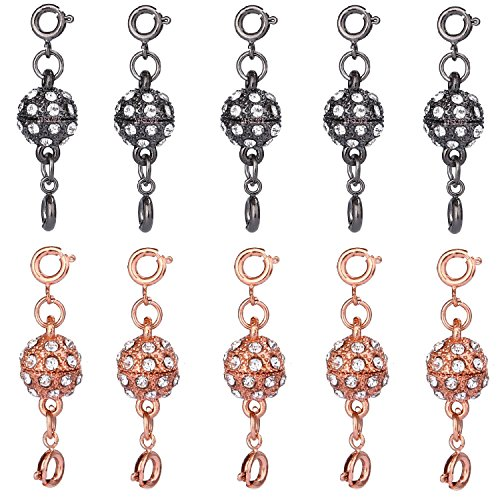 Aiskaer 10 Pcs Black Color and Champagne Gold Color Rhinestone Ball Style Magnetic Lobster Clasps for Jewelry Necklace Bracelet (Mm 43 Plastic Snap)
