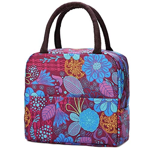 Insulated Lunch Bag for Women Reusable Lunch Tote Meal Prep Bag with Front Pocket for Kids Workers School Picnic Travel Cooler Bag Lunch Handbag Zipper Closure Stylish Lunch Box (flower)