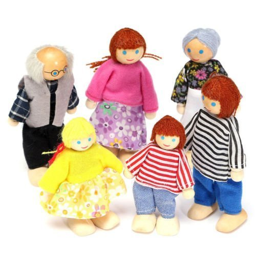 Estore Wooden Doll Family Happy Doll Figures House Accessories 6 Pack