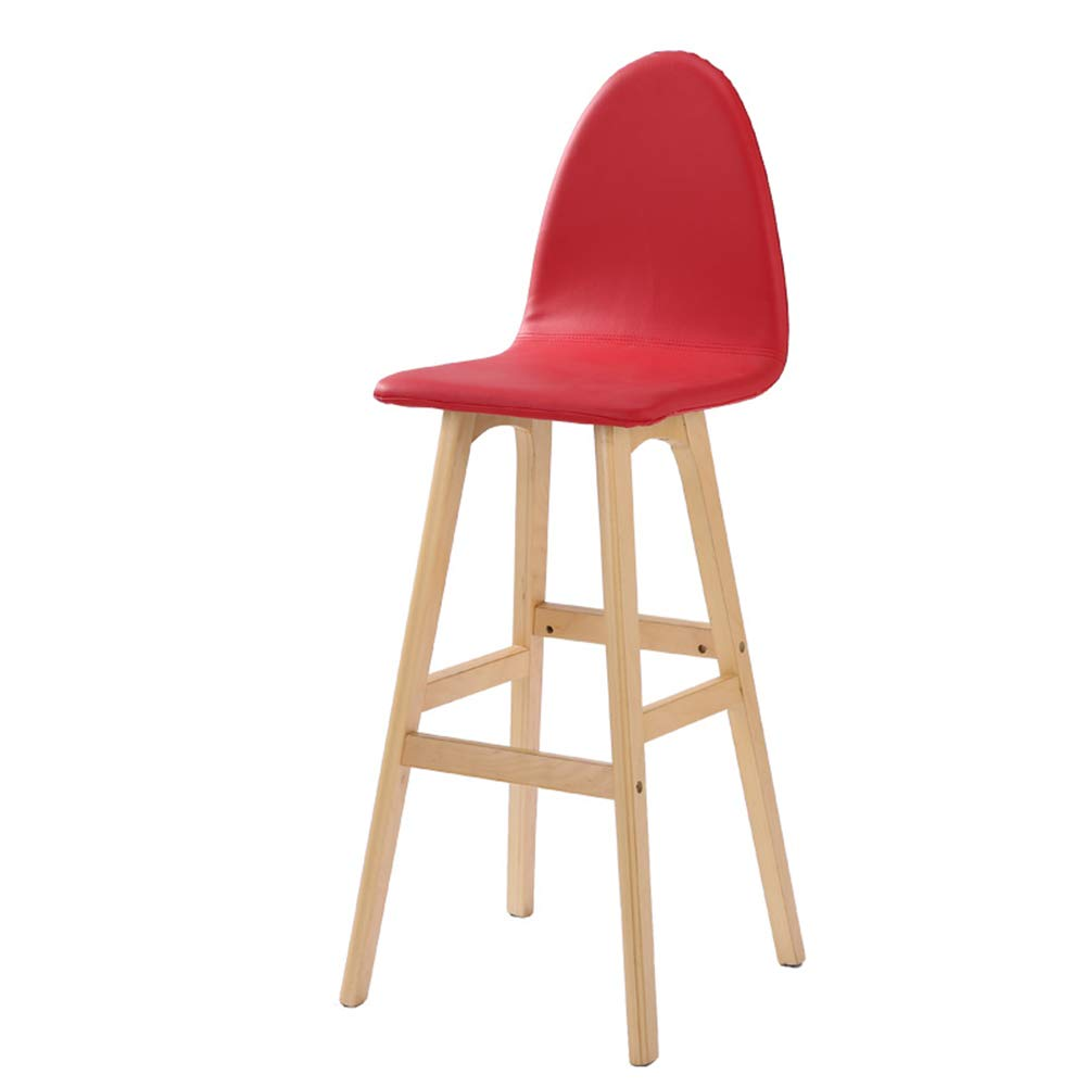 Red 42x41x105cm LIQICAI Bar Stool Faux Leather Wooden High Legs Saddle Stool with Natural Finished Frame, 65 74cm Seat Height, 6 colors Optional (color   Green, Size   42x41x114cm)