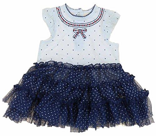 (Little Me Baby Girls Cute Tutu Popover Onesie Playwear Dress Outfit (6M, Navy Multi))