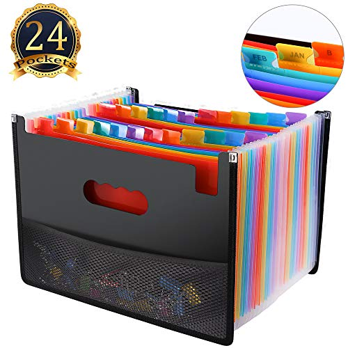File Hot (24 Pocket Expanding File Folder with Mesh Bag, Hot Pressing Forming Document Organizer with Cloth Edge Wrap, Multi-Color Accordion A4 Size with Expanding Wallet Stand for Business/Office/Study/Home)