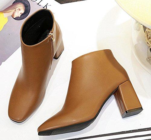 Cheville Boots Fashion Low Bout Carr Femme Chunky Aisun 7qwOxEvfP