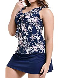 Plus Size Swimsuits Tummy Control Swimdress Two Piece Tankini Bathing Suit Floral Printed Swimwear for Women