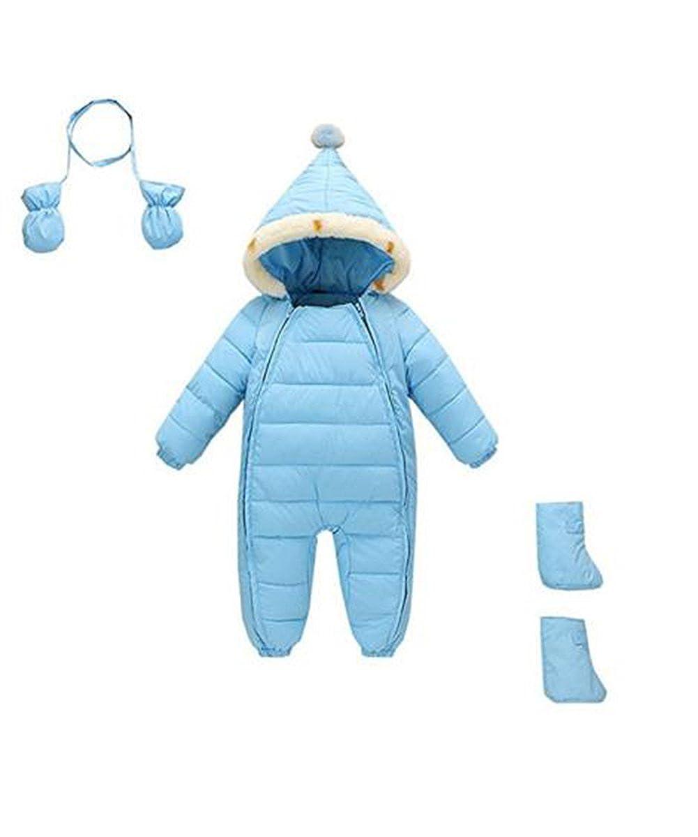 Ikerenwedding Baby Boys Girls Newborn Pram One-Piece Snowsuit With Gloves and Shoes