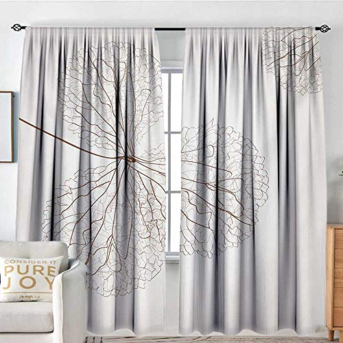 "Petpany Customized Curtains Flower,Abstract Cotton Floral Design with Veins Natural Botanic Plants Image Artwork,White and Brown,for Room Darkening Panels for Living Room, Bedroom 72""x96"""