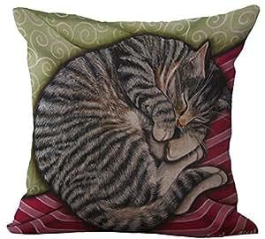 Decorative Neck Roll Pillow Pattern : Amazon.com: VVLuck Linen Blend Sleepy Cats Pattern Square Cushion Cover Neck Roll Sham ...