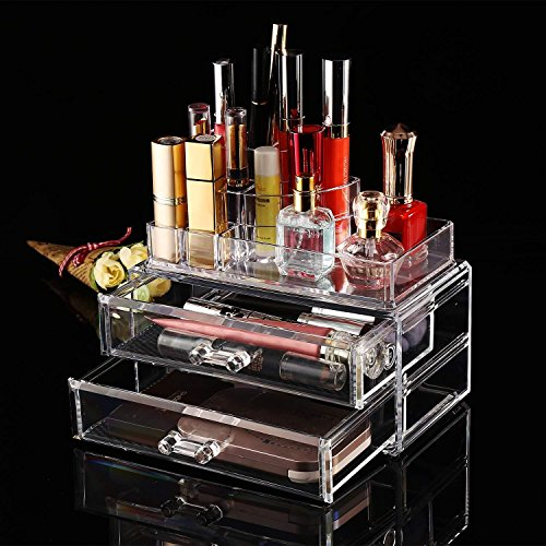 Dtemple Acrylic Cosmetic Makeup Jewelry Storage Case-Spacious Design-Great for Bathroom, Dresser, Vanity and Countertop 2 Drawers, 8 Compartments, Clear