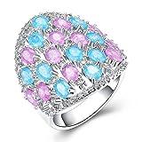 Beydodo Silver Plated Women Ring Wedding Size 7 Mushroom Ring Blue & Pink Oval Cut Cubic Zirconia
