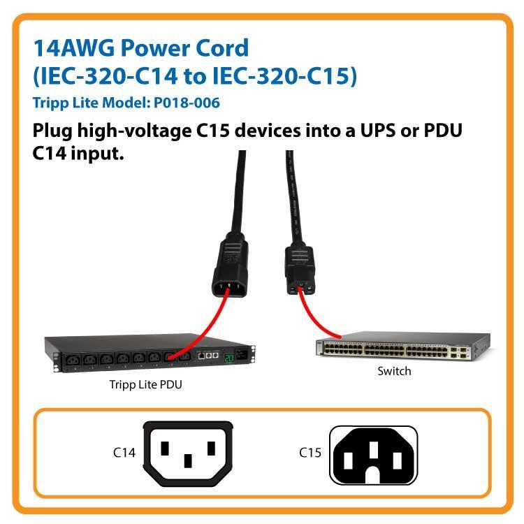 6ft 14awg Power Cord Heavy Duty C14 C15 Amazon Ca