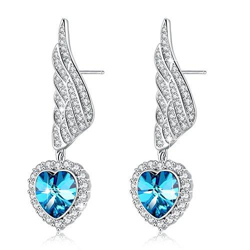 PLATO H Angel Wing Heart Drop Dangle Earrings Angel Wing Earring With Swarovski Crystal, Blue Heart Crystal Earrings, Love Heart Wings Earrings, Angel Wings Heart Earrings