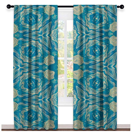(Greatdecor Blue Clay plasticine Abstract Seamless Colorful Wallpaper textur Sliding Glass Door Curtain(2 Panels, W63 x L45 Inch))