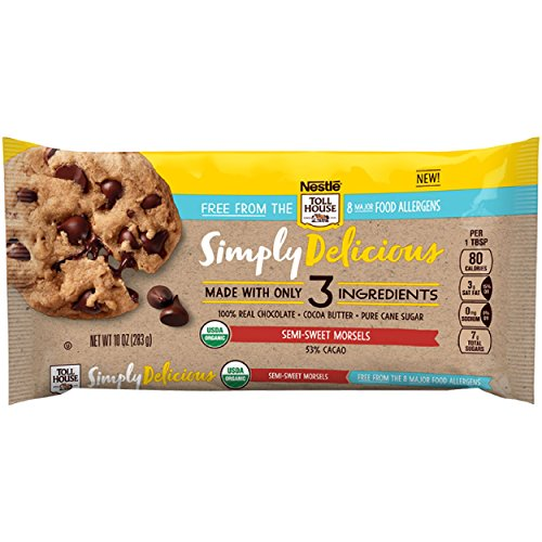 Nestle Toll House Simply Delicious Allergen-Free Semi-Sweet Chocolate Morsels - Chocolate Chips Made With Only Three Ingredients and Free From 8 Major Allergens, 10 oz. Bag