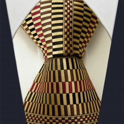 Intrepid Classic Corporate Elite Checked Pattern Men's Necktie Tie 100% Silk Jacquard Woven