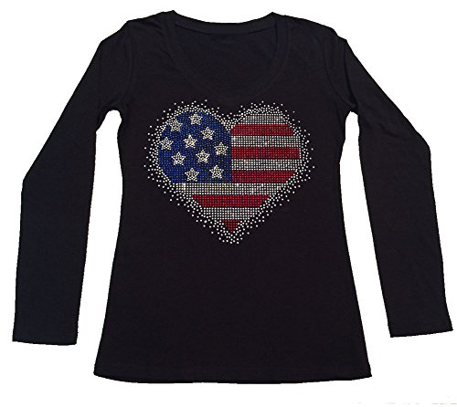 Womens Fashion T-shirt with 4th of July Heart in Rhinestones (Large, Black Long ()