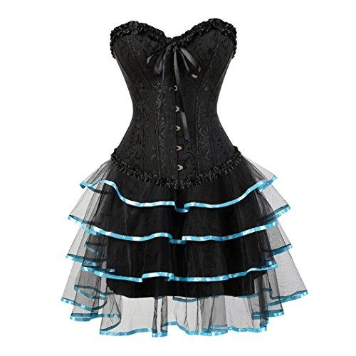 Women Corset with mini tutu Fancy Dress Skirt Party Costumes Wedding Body Overbust Corset Negro-SkyAzul