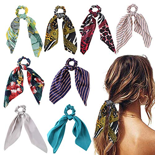 Hair scarf scrunchies, WEST BAY 8Pcs Silk Scrunchies with Bow for Women Girls 2 In 1 Vintage Soft Satin Bowknot Hair Bands Elastic Ties Chiffon Solid Floral Striped Printed Scrunchies -