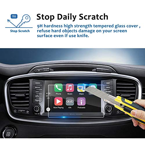 LFOTPP 2016-2018 Kia Sorento UVO 8 Inch Car Navigation Screen Protector, [9H] Tempered Glass Infotainment Center Touch Screen Protector Anti Scratch High Clarity by LFOTPP