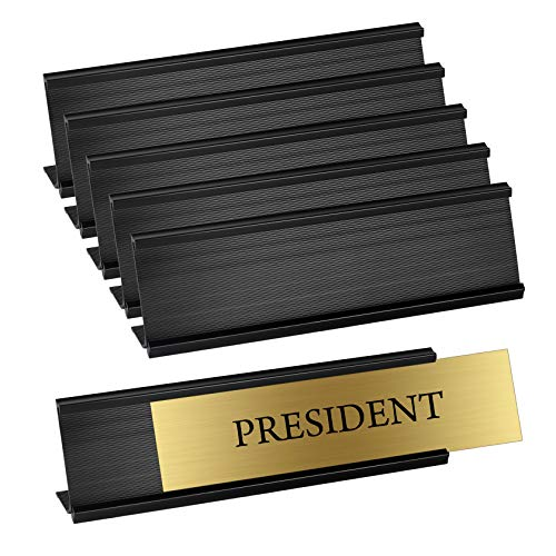 - Set of 6 - Sturdy and Elegant Black Aluminum Desk Name Plate Holder, Office Business Desk Sign Holder, 8