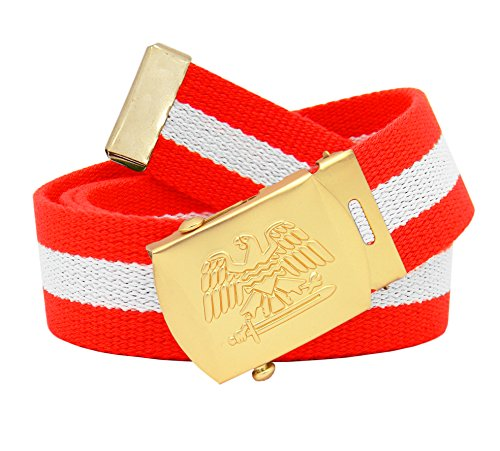 Men's Military Gold Eagle and Sword Slider Buckle with Canvas Web Belt Large Red and White Stripe (Large Eagle Gold)