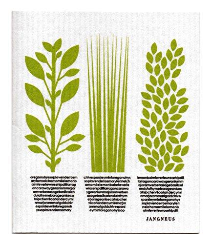 Swedish Dishcloth, Set of 4 (BG) Black & Green Plants Designs by Trendy Tripper (Image #1)