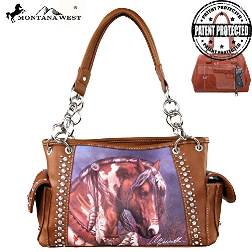 Montana West Horse Art Concealed Handgun Handbag-Laurie Prindle Collection (Brown)
