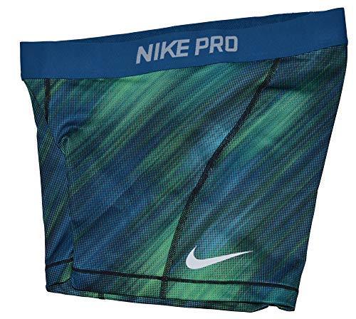 NIKE Womens Pro Dri-Fit Training Shorts, Size S, Blue/Green (Nike Dark Green Shorts Women)