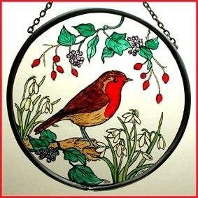 Decorative Hand Painted Stained Glass Window Sun Catcher Roundel in a Robin in Snowdrops Design
