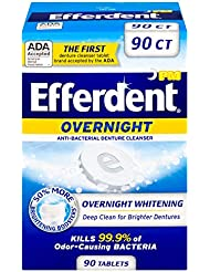 Efferdent PM Overnight Anti-Bacterial Denture Cleanser   90 Tablets