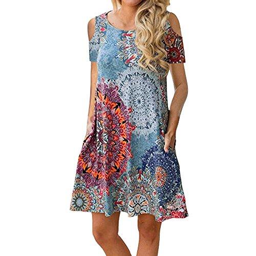 Miuye yuren-Clothing Summer Dresses for Women Casual T-Shirt Dress Strapless Elegant Floral Print Swing Dress with Pockets (XXL, Multicolor)