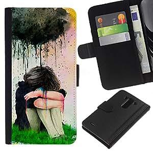 A-type (Watercolor Sad Girl Painting) Colorida Impresión Funda Cuero Monedero Caja Bolsa Cubierta Caja Piel Card Slots Para LG G3