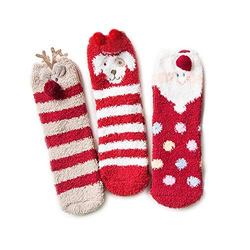 SAMGOO 3 Pairs Pack Women's Winter Soft Fuzzy Warm Plush Slipper Socks Christmas socks Gift Box (Santa puppy snowman) ()