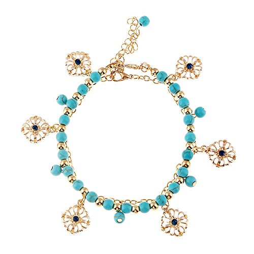 Winter's Secret Bohemia Turquoise Beaded Hollow Alloy Flower Pendant Tassels Adjustable (Butterfly Bush Shade)