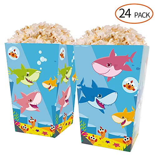- HYOUNINGF 24 PCS cute Shark Theme Mini Popcorn Party Favor Boxes, Treat Boxes Candy Cookie Containers for Baby Shower or Birthday Party Favor Supplies Decorations