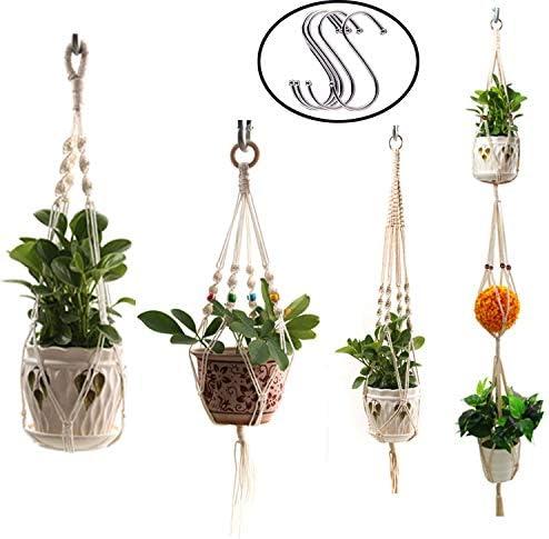 Yakalla Macrame Plant Hangers,Hanging planters for Indoor Outdoor Hanging Plant Pots Cotton Rope, Elegant for Home, Patio, Garden-4pack