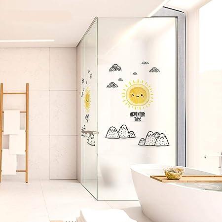 Sala de Dibujos Animados para Niños Autoadhesiva Vidrio Esmerilado Baño Sala de Estar Puerta Corredera Anti-UV Protección de La Etiqueta Adhesiva Privacy-02 Sol A2: Amazon.es: Hogar