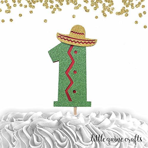 1 pc number 1 sombrero cake topper green glitter fiesta mexi