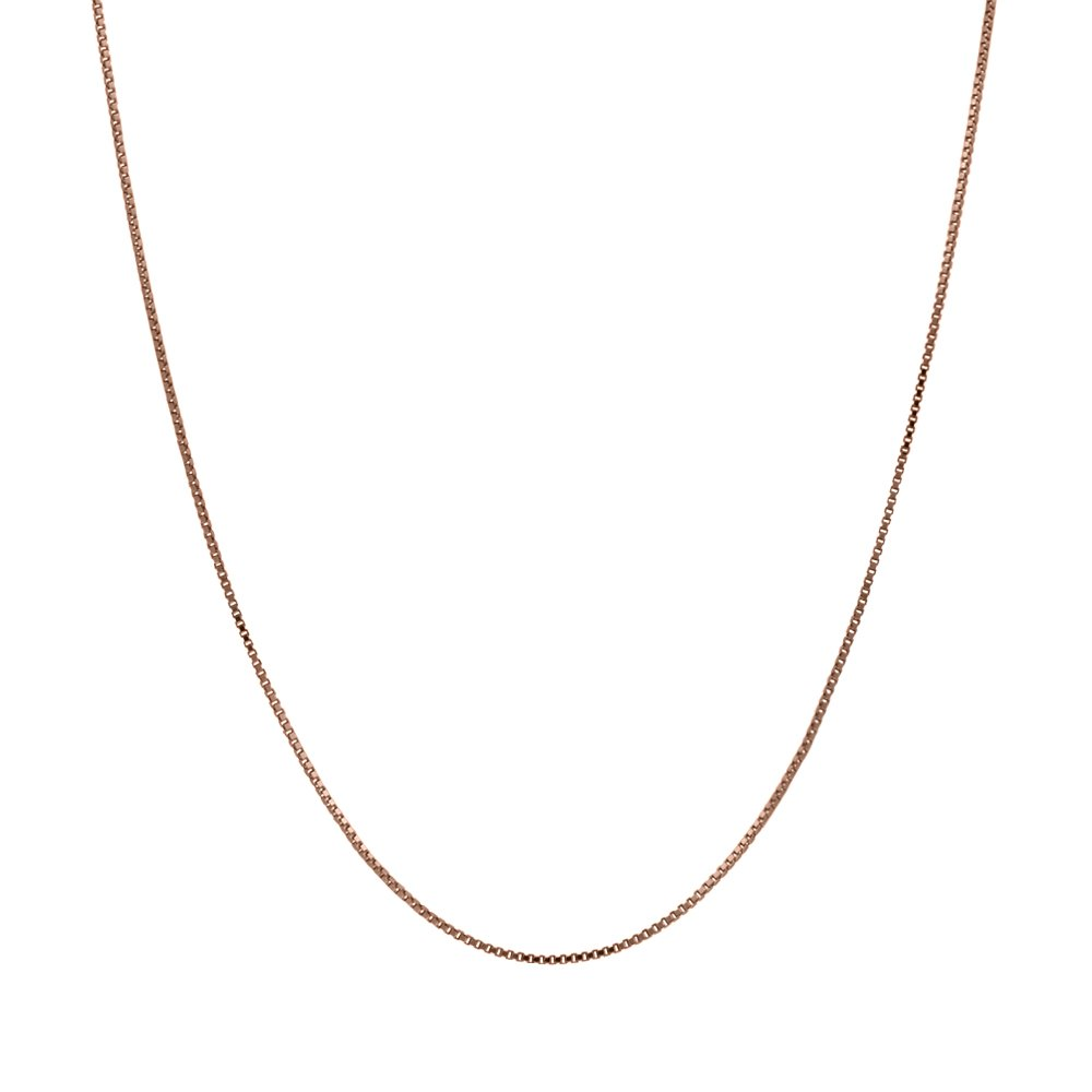 Honolulu Jewelry Company 14K Thin Solid Rose Gold 0.5mm Box Chain Necklace - 18 Inches