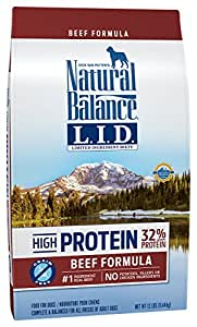 Natural Balance Limited Ingredient Diets High Protein Dry Dog Food, Beef Formula, Grain Free, 12-Pound