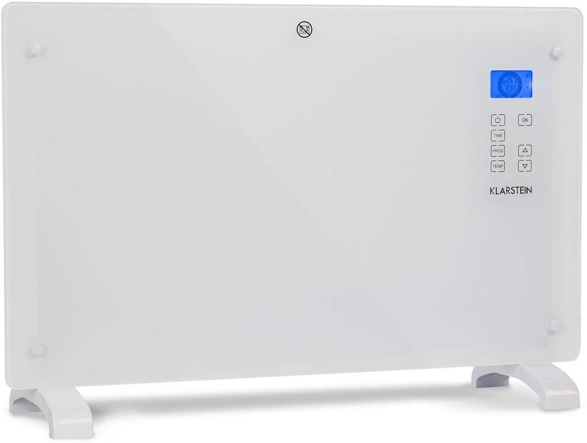 Klarstein Norderney 2020 Edition - Convector-calefactor, Calor por convección, Temperatura regulable entre 15-35°C, Potencia 1000/2000W, Panel de control táctil, Blanco