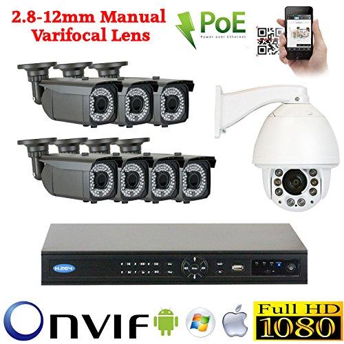 GW 8Cámara 1080P POE IP CCTV Kit de seguridad: 7x 1080P Cámaras IP POE 2.8–12mm Bullet + 1x 1080P IP PTZ...