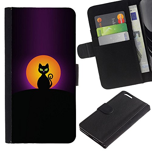 OMEGA Case / Apple Iphone 6 PLUS 5.5 / Halloween black cat moon painting / Cuir PU Portefeuille Coverture Shell Armure Coque Coq Cas Etui Housse Case Cover Wallet Credit Card