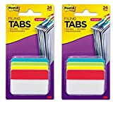 Post-it Filing Tabs, 2'' Angled Solid, Assorted Primary Colors, 6 Tabs/Dispenser, 4 Dispensers/Pack - 2 Pack