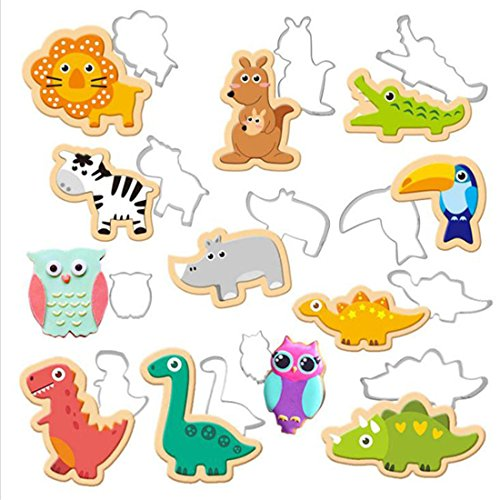 UNKE 12 Pcs Lion Hippo Zebra Kangaroo Dinosaur Shaped Stainless Steel Cookie Biscuits Fruits Cutters DIY Cake Decoration (Food Lion Halloween Cakes)