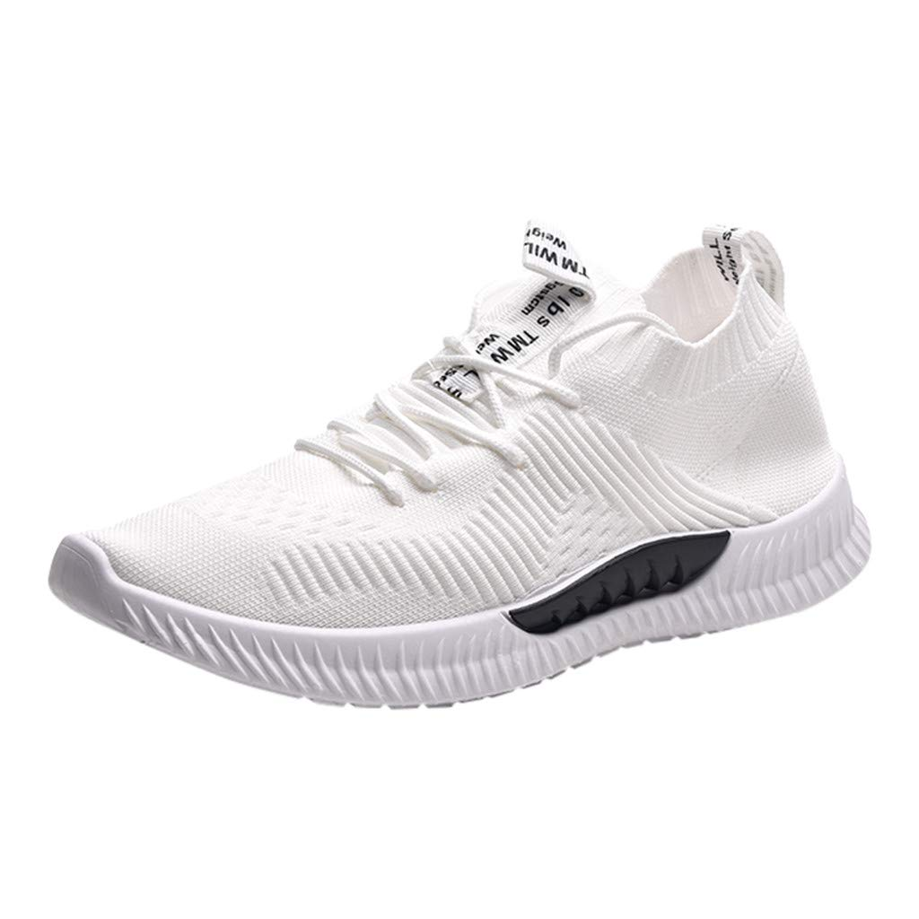 Men's Running Sneakers Summer Athletic Outdoors Sport Jogging Shoes Casual Breathable Lightweight Lace-Up Knit Shoe (White, US:7.5)