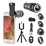 Phone Camera Lens Kit.5 In 1 Cell Phone Lens With Tripod+Shutter Remote,12x Zoom Telephoto Lens/0.65x Wide Angle & Macro Lenses/180° Fisheye Lens/Star Filter Lens,Clip-On Lenses for Smartphones/Tablet