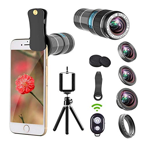Phone Camera Lens Kit.5 in 1 Cell Phone Lens with Tripod+Shutter Remote,12x Telephoto Lens/0.65x Wide Angle & Macro Lenses/180° Fisheye Lens/Star Filter Lens,Clip-On Lenses for Smartphones/Tablet