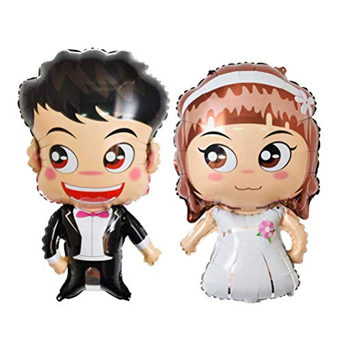 Toyvian Wedding Balloons Cartoon Bride and Groom Foil