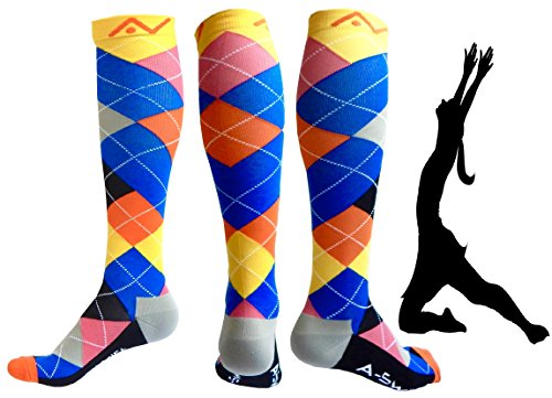 Compression Socks (1 pair) for Women & Men - Easywear Series - Best Graduated Athletic Fit for Running, Nurses, Flight Travel, & Maternity Pregnancy - Boost Stamina & Recovery (Ardent Argyle, L/XL)